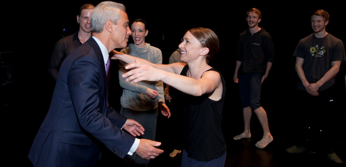 Mayor Rahm Emmanuel and Hubbard Street dancer Kellie Epperheimer